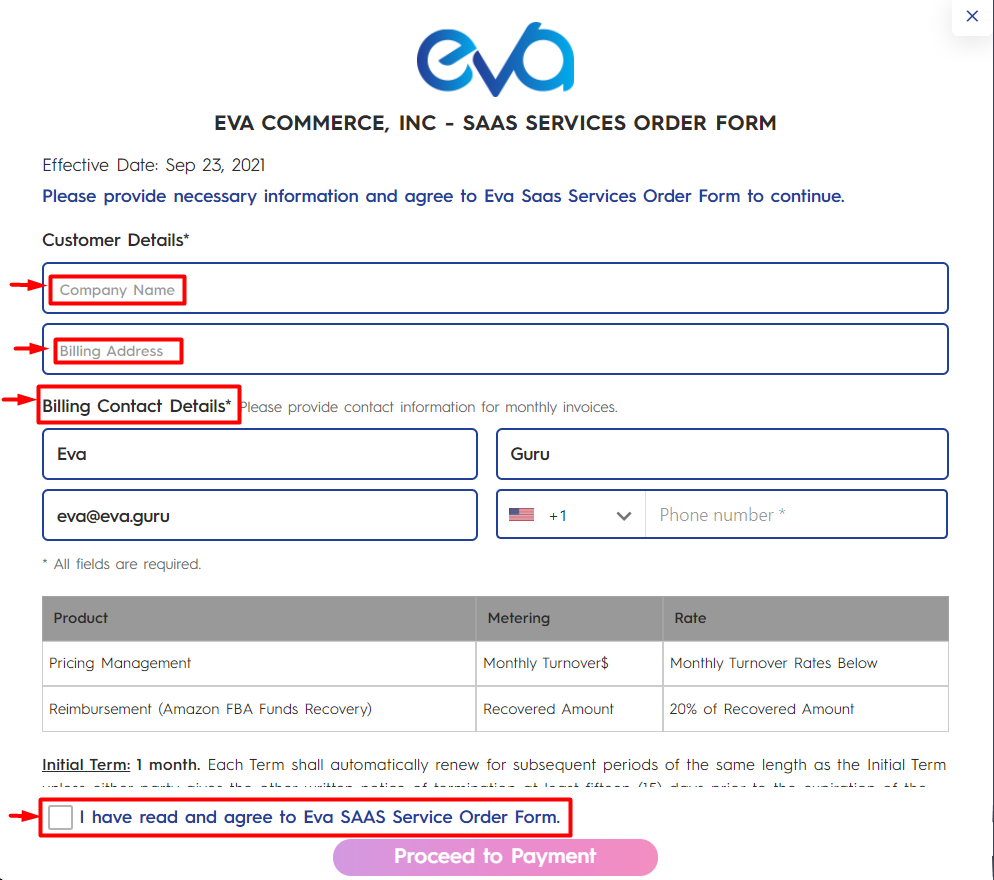 Figure 2 Eva Service Order Form